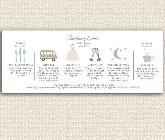 Timeline Wedding Weekend itinerary by lemonseedandco on Etsy, $1.25
