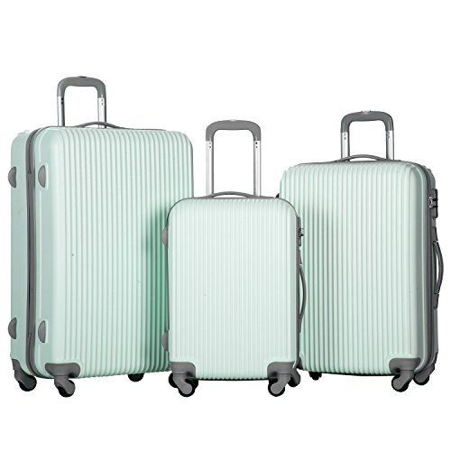 Merax Newest 3 Piece Luggage Suitcase Spinner Set ABS Material (Mint Green)