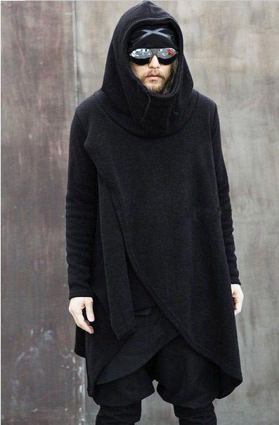 Super cool mannen mode coltrui onregelmatige asymmetrisch ontwerp zachte katoenen casual lange truien sweatshirt retail& wholesalet
