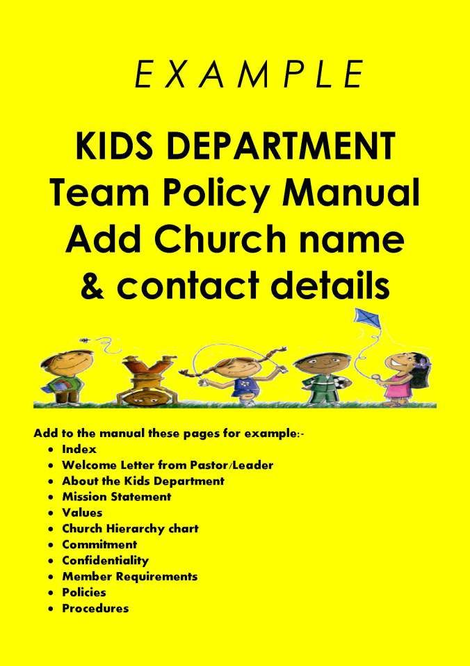 Kids Department Policy \ Procedures Manual Sunday school - incident report forms