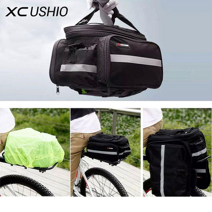 1x Convertible Tas Bagasi Sepeda Jalan Sepeda Gunung Kursi Belakang Rak Kargo Pembawa Tas Wadah dengan Penutup Tahan Hujan