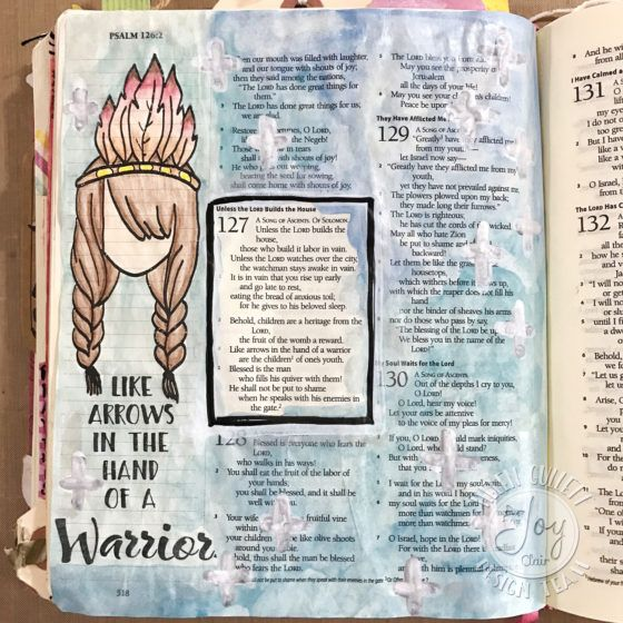 Psalm 127: Watercoloring On Journaling Bible Page Tutorial using the new Joy Clair - Color By Faith Stamp Set