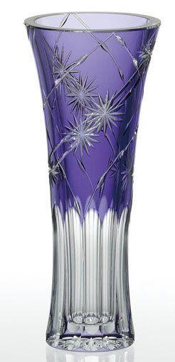 ** Váza - fialové, broušené sklo ♣ Kiriko **