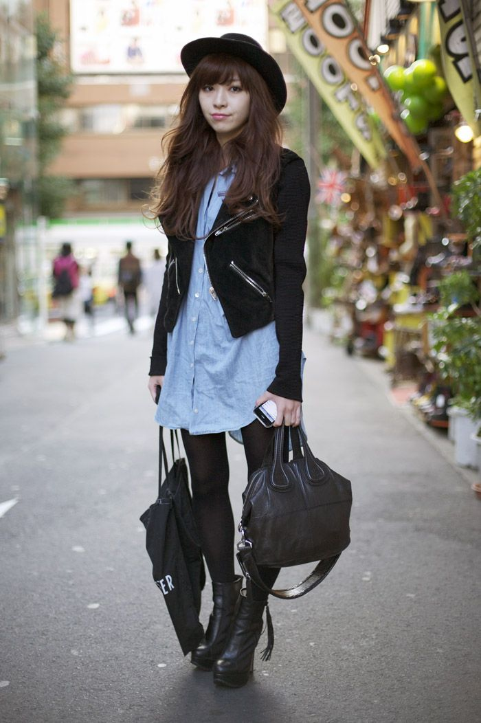 Maruya Saeko, Tokyo  Hat:  Black Hat  Jacket:  Black ALEXANDER WANG Jacket  Shirt:  Blue Oversized Shirt  Shoes:  Black Booties  Bag:  Black GIVENCHY Bag and Black ANN DEMEULEMEESTER Tote  Photo By: Phil Oh