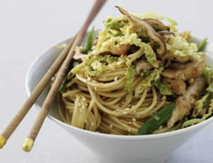 Ginger-Garlic Chicken Stir Fry with Soy-Sesame Noodles.