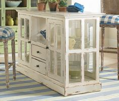 craft table made out of dressers | this kitchen island that could be created from old windows and dresser ...