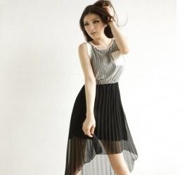 Lockere Ärmellos Irregulär Schoß Plissiert Kleid