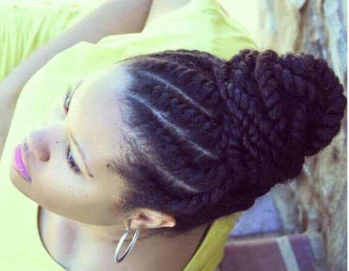 Flat twists bun in gorgeous natural hair. Loved by Neno Natural.