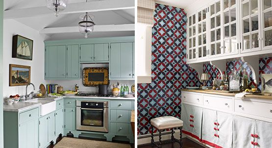Kitchen cabinets (left hand photo) painted in Benjamin Moore's Covington Blue