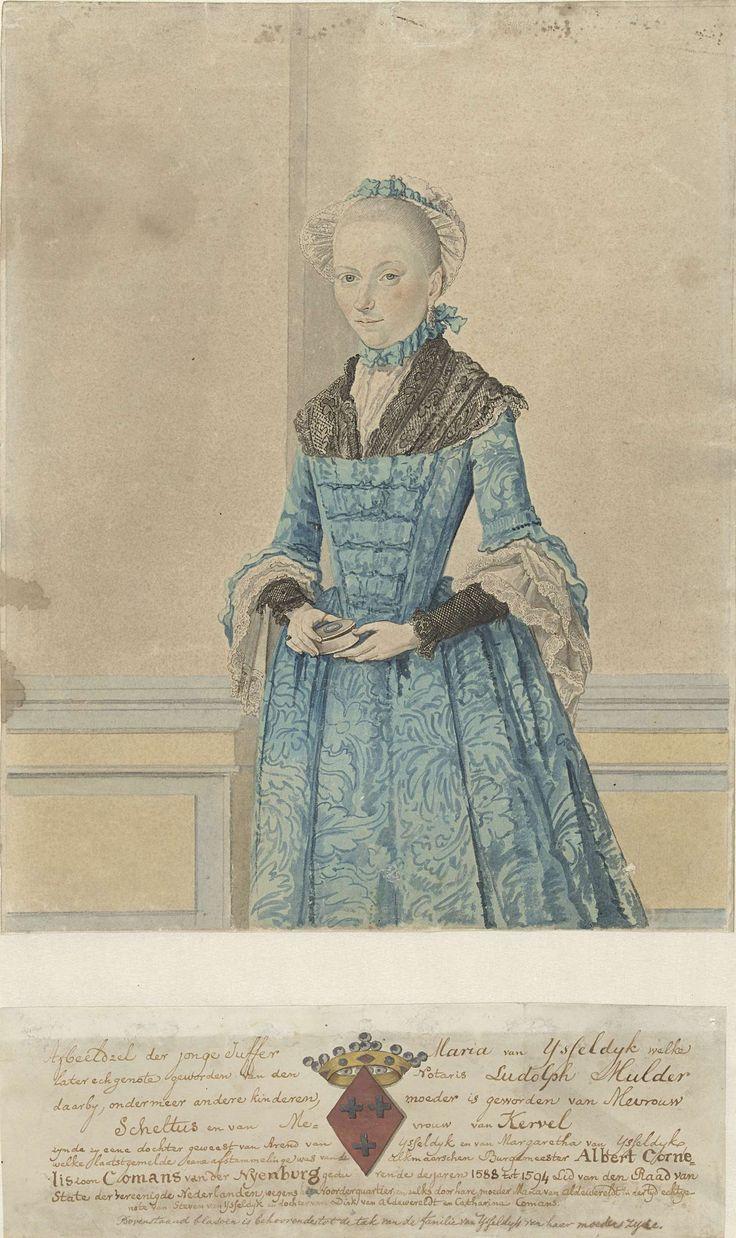 Portret van Maria van IJsseldijk, staand kniestuk, Isaac Lodewijk la Fargue van Nieuwland, 1736 - 1805