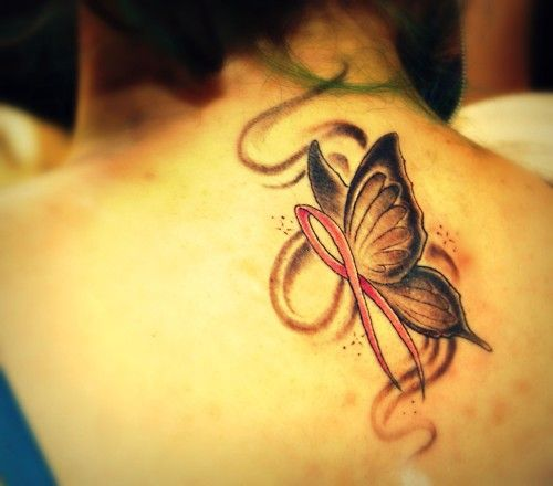 Butterfly tattoo ribbon supporting breast cancer research for Breast cancer butterfly tattoos
