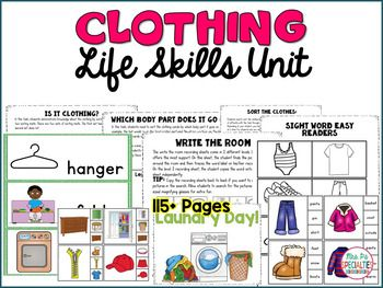 Teach your students about clothing with this life skills unit! Students will learn to label clothing, know which body part it goes on, what is clothing and what isn't, how to do laundry and more! This is the perfect unit for teaching about crucial life skills. There are a lot of visuals to help support learning for students with autism, multiple disabilities, downs syndrome, etc.