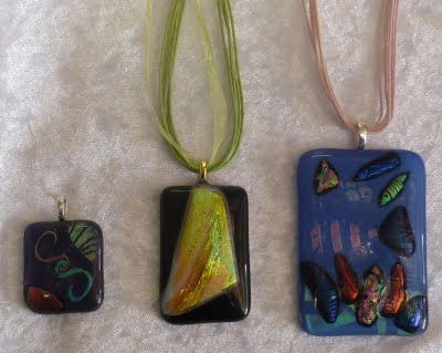 Dichroic Glass Pendants... my new found hobby..