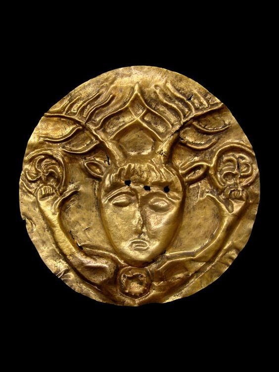 "archaicwonder: ""  Celtic Gold Phalera with Cernunnos, 1st Century BC Cernunnos is the conventional name given in Celtic studies to depictions of the ""horned god"" of Celtic polytheism. The name itself is only attested once, on the 1st-century Pillar..."