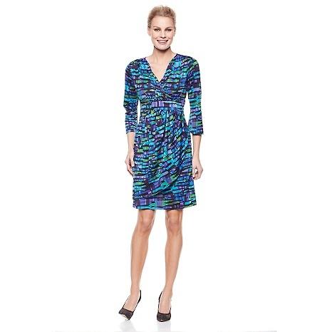 Slinky® Brand 3/4-Sleeve Printed Surplus Dress - HSN clearance