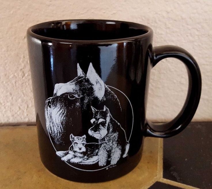 Schnauzers Black Coffee Mug Dog Cup Porcelain by Rosalinde Hand Decorated USA