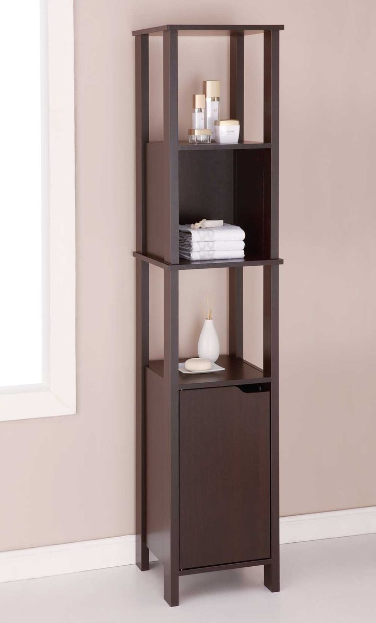 Bathroom shelves and hooks gt bathroom shelves gt three tier glass - Wood Cabinet High Is An Espresso Finished Veneer Cabinet For Bathrooms Or Other Rooms