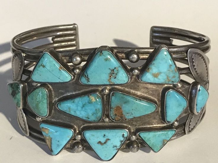 FABULOUS WIDE VINTAGE NAVAJO INDIAN MULTI TRIANGLES TURQUOISE CUFF BRACELET #Cuff