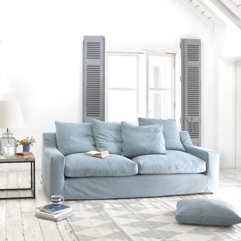 Loaf's light blue Cloud sofa with removable covers and large feathery cushions