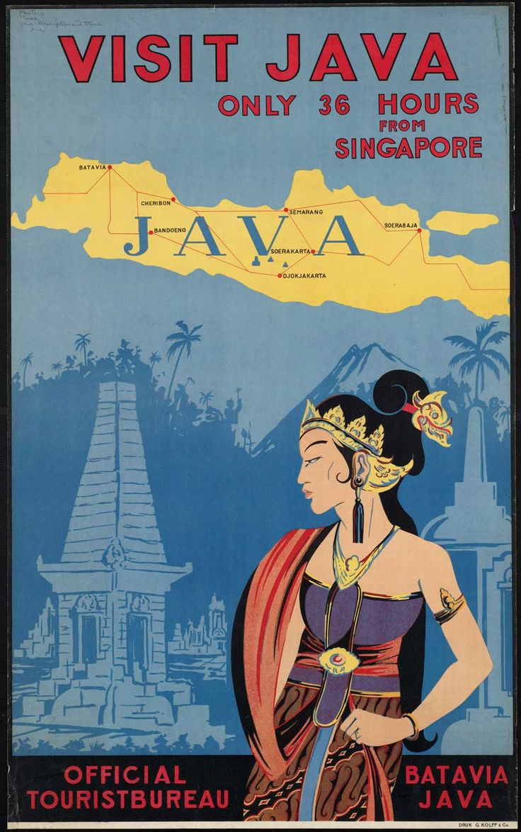 Visit Java. Batavia tourism poster, Indonesia.