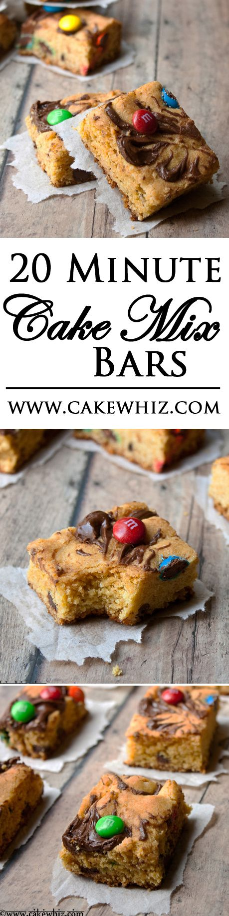 These CAKE MIX BARS are so easy that they are ready in just 20 minutes! Packed with chocolate, Nutella and peanut butter! From cakewhiz.com