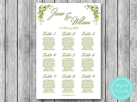 66 best Wedding Seating Chart Printable images on Pinterest - printable seating charts