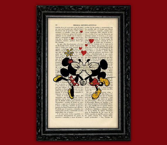 Mickey & Minnie Mouse Retro Kiss Art Print  by ThePurpleHamster