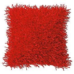 F Home Glam Shaggy Cushion, Red
