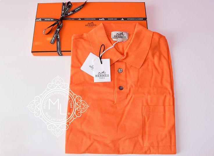 Hermes Men's Sports Orange Polo Shirt Large, X-Large - New