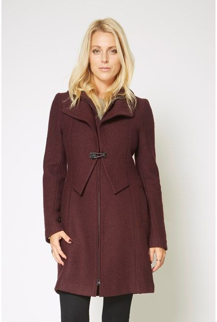 Double Collar Clasp Coat. Berry color + bust-friendly zip front + that front detail = so much win.