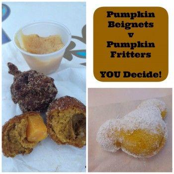 Dining in #Disneyland: Pumpkin Beignets vs. Pumpkin Fritters! What's your pick?! #DisneyFood