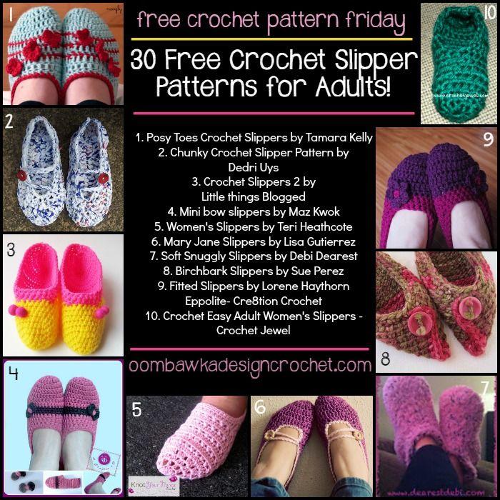 Free Crochet Adult Slippers Patterns on FCPF #crochet
