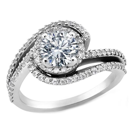 Diamond Halo Double Swirl Engagement Ring