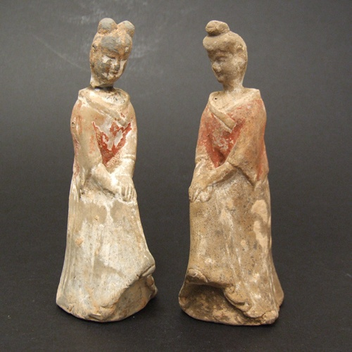 A Pair of Small Early Chinese Pottery Figures, Northern Dynasties 386 - 584. This `Cold-Painted` Grey Pottery Figure Shows a Women