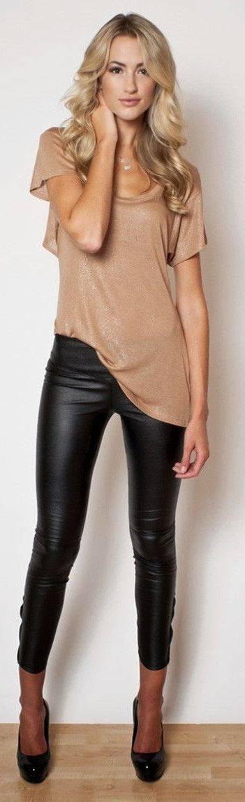 Nude Glitter Tee Black Leather Leggins Outfit Inspo