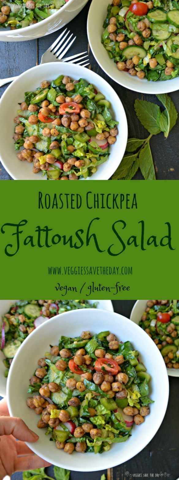 Instead of bread, this version of Fattoush salad uses chickpeas (garbanzo beans) roasted with sumac in its place. This hearty salad is full of fresh vegetables, herbs, and a dressing made from lemon juice, olive oils, and pomegranate molasses. It's vegan and gluten-free. Get this recipe now by visiting http://www.veggiessavetheday.com, or pin and save for later!