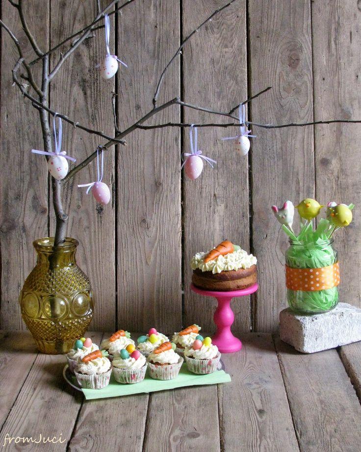 easter dessert table: bunny & chicken cake pops, carrot cupcake @ mini cake with chesse cream frosting - húsvéti desszertasztal, répatorta, répa cupcake, nyuszi és csirke sütinyalókák