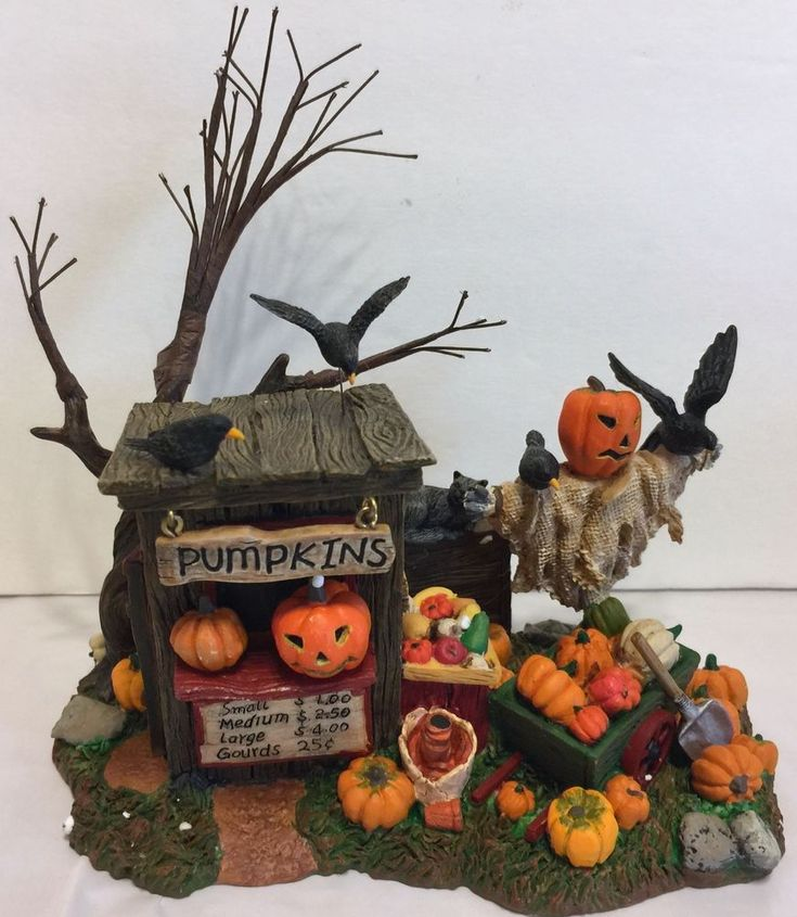 dept 56 halloween pumpkin stand jack o lantern scarecrow crows decoration