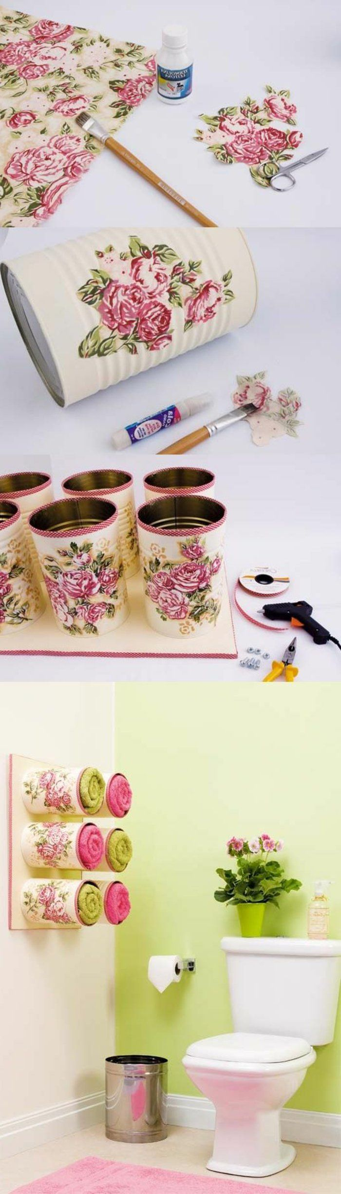 serviettentechnik anleitung, konserven, servietten mit pinken rosen, schere, pinsel, serviettenkleber
