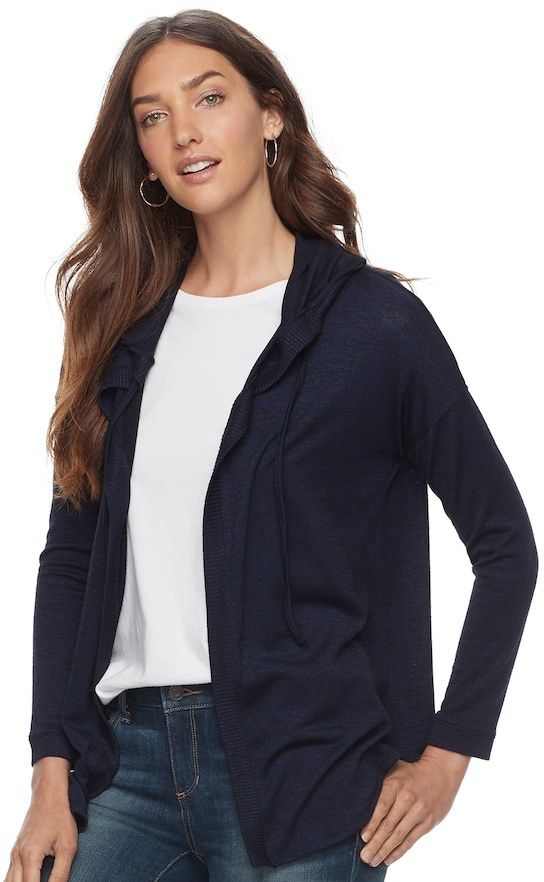 "Petite SONOMA Goods for Lifeâ""¢ Hooded Open-Front Fleece Cardigan ..."