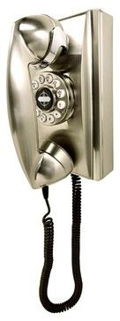 Retro Wall Phone in Nickel - eclectic - Home Electronics - ivgStores