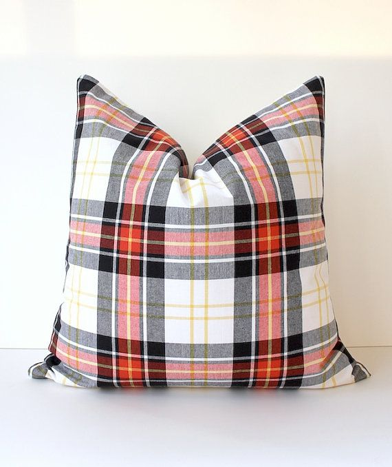 Modern Plaid Designer Pillow Cover 20 Red Black Yellow White Accent Throw Cushion Robert Allen Design Cabin holiday Tartan