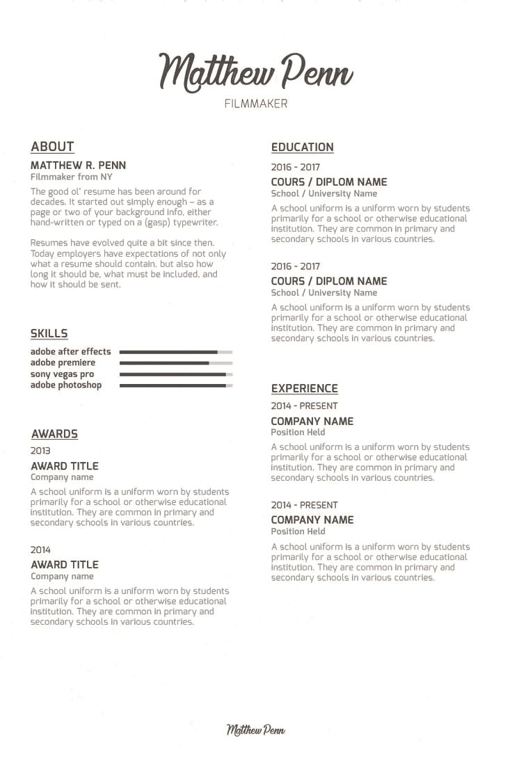Filmmaker Resume Template Matthew Penn Filmmaker Resume Template Resumes That Stand Out