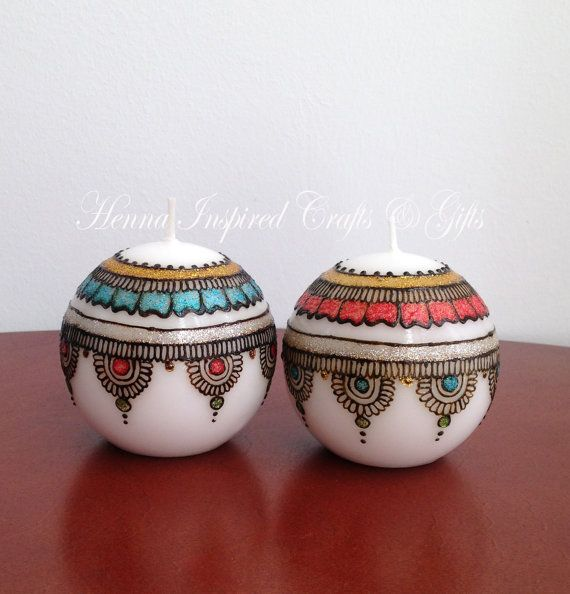Set of 2 candles Decorative Candles Indian wedding Henna