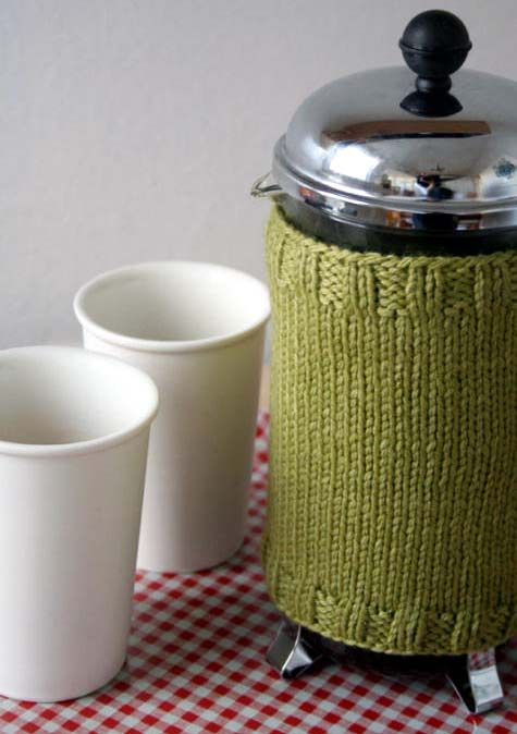 I can't knit, so I won't be making this, but my coffee press definitely needs a cozy. The coffee gets cold WAY too quickly. Maybe I'll make one out of fleece.