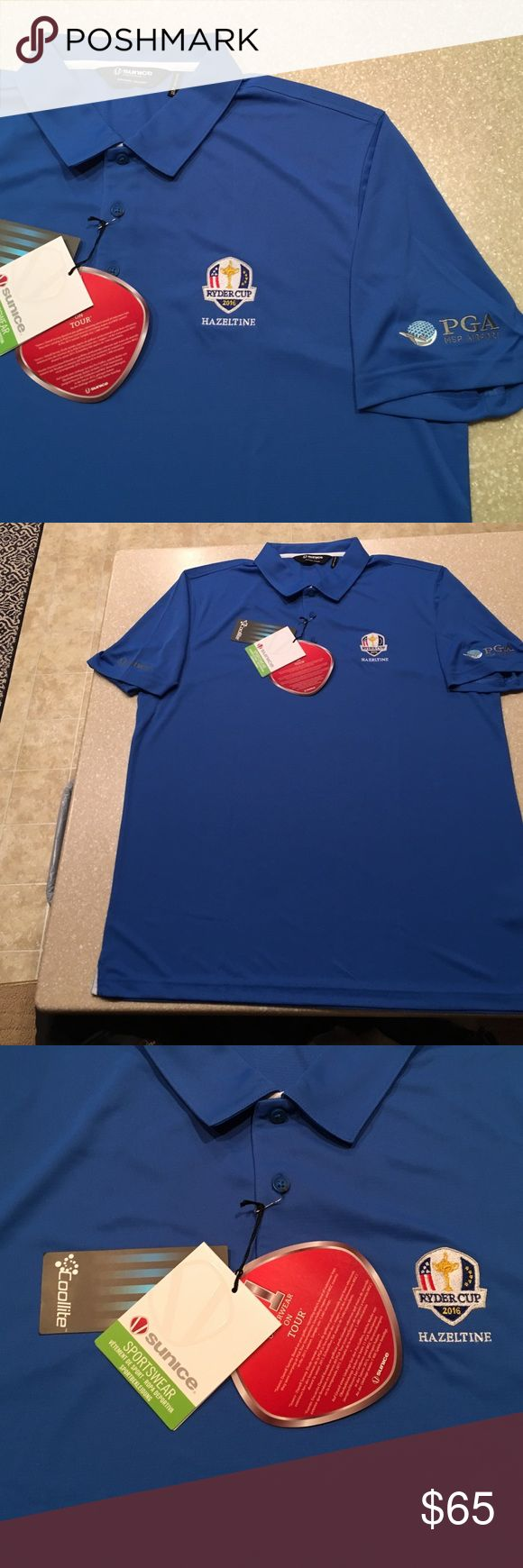 "Ryder Cup 2016 Haseltine PGA tour golf shirt XL Brand-new never worn tags on. Royal blue short sleeve. Size XL. Embroidered Ryder Cup 2016 Hazeltine logo. One sleeve has embroidered PGA MSP AIRPORT logo, other sleeve has ""sunice"" logo. Coolite fabric, anti-microbial & moisture wicking. SPF 30+ sunice sportswear Shirts Polos"