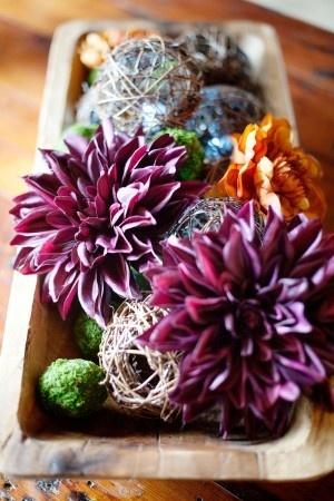 DIY fall wedding centerpiece with purple dahlias