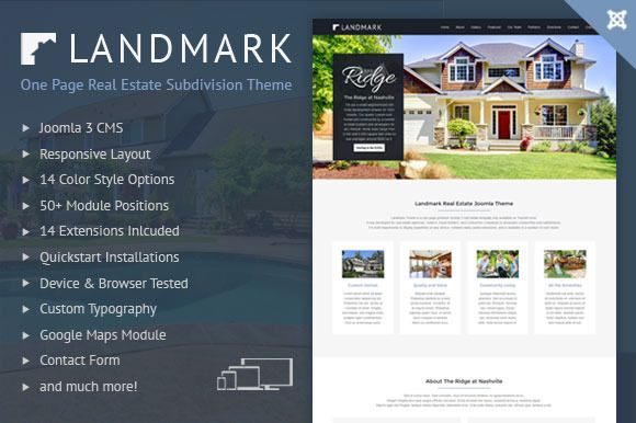 Landmark #Joomla Real Estate #Subdivision #Template by @webunderdog on @CreativeMarket. #webdesign #onepage #responsive #theme #homes http://crtv.mk/gnCk