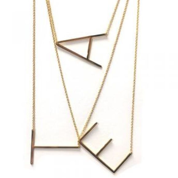 """Sideways initial letter necklaces, NWT & Boxed These initials are modern and sophisticated! Each initial letter is approximately 1 ½"""" Length and ¾"""" wide. The polished gold tone metal finish and the clean lines of the block letters, makes this necklace unique and eye-catching. Please Specify Letter  18""""-20"""" adjustable Length 1 ½' x 3/4"""" approx. letter size Quality 14K Gold Plated ZokyDoky Jewelry Necklaces"""