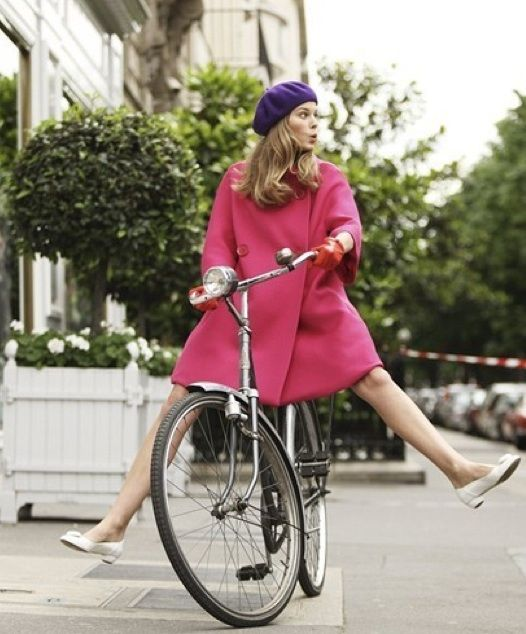 Bicycles, Pink Coats, Chic, Miss Dior, Dior Cheri, Sofia Coppola, Bikes Riding, Beret, Bikes Style